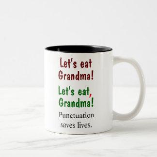 Comamos a la abuela que la puntuación ahorra las taza de café de dos colores