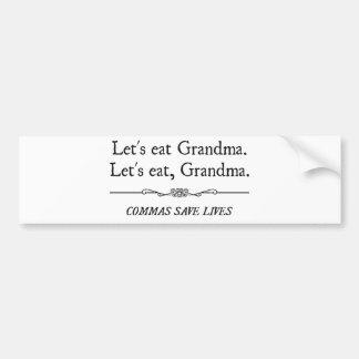 Comamos a la abuela que las comas ahorran vidas etiqueta de parachoque