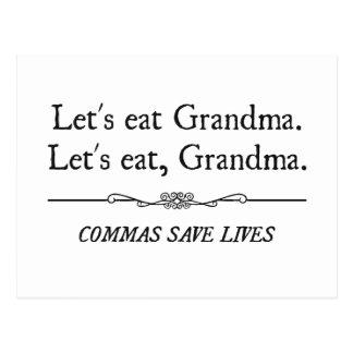 Comamos a la abuela que las comas ahorran vidas tarjetas postales