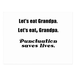 Comamos al abuelo que la puntuación ahorra vidas postal