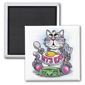 Comamos (el gato) imán cuadrado