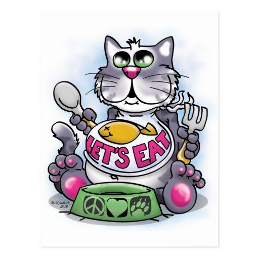 Comamos (el gato) postales
