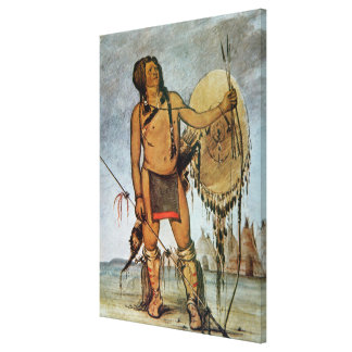 Comanche warrior with a shield, lance and bow and canvas print