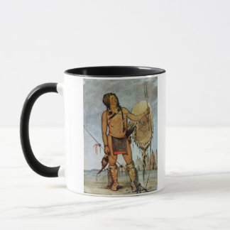 Comanche warrior with a shield, lance and bow and mug