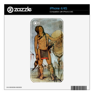 Comanche warrior with a shield, lance and bow and skin for iPhone 4S