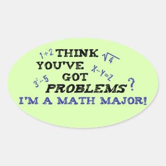 comandante de matemáticas divertido pegatina ovalada