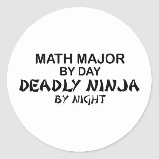 Comandante de matemáticas Ninja mortal por noche Pegatina Redonda