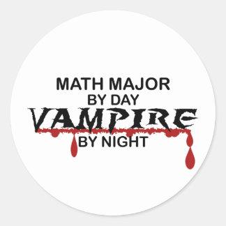 Comandante de matemáticas vampiro por noche pegatina redonda