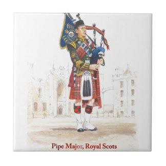 Comandante de tubo, guardias escoceses reales azulejo cuadrado pequeño