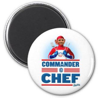 Comandante en cocinero imán redondo 5 cm