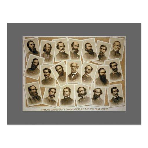 Comandantes confederados 1861-1865 tarjeta postal