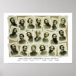 Comandantes confederados de la guerra civil póster