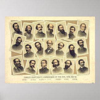 Comandantes confederados famosos de la guerra civi poster