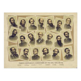 Comandantes confederados famosos de la guerra civi tarjetas postales