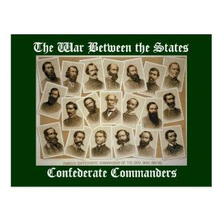 Comandantes confederados tarjetas postales
