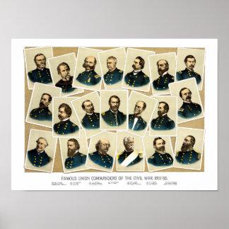 Comandantes de la unión de la guerra civil impresiones