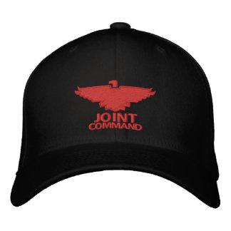 Comando común (tinta negra de w/red) gorras bordadas
