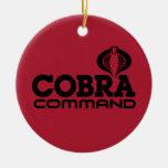 Comando de la cobra adorno navideño redondo de cerámica