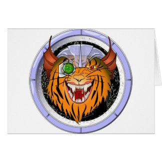 Comando del gato del espacio tarjeta de felicitación