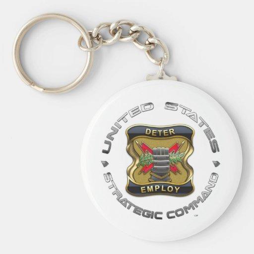 Comando estratégico de los E.E.U.U. Llavero Redondo Tipo Pin
