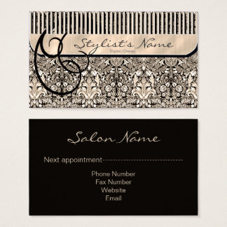 Comb and Curls Damask ID319 Business Card