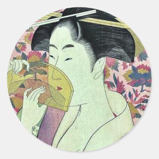 Comb by Kitagawa, Utamaro Ukiyoe Classic Round Sticker