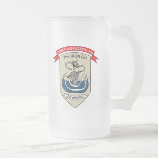 """Combat Assault Battalion """"The Iron Fist"""" Frosted Glass Beer Mug"""