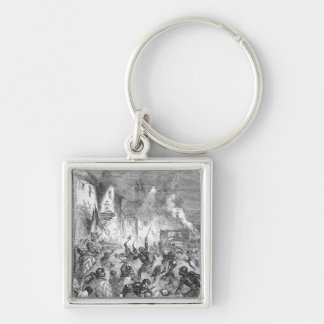 Combat between English and French Knights Keychain