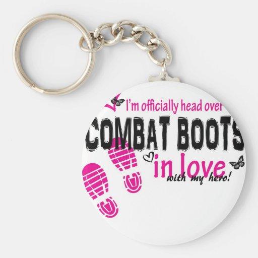 Combat Boot Love Basic Round Button Keychain