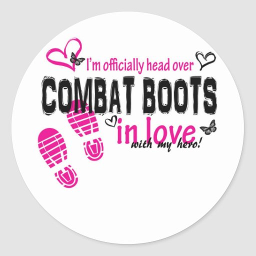 Combat Boot Love Round Stickers
