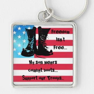 Combat Boots Soldier Love  Patriotism Troops Art Keychain