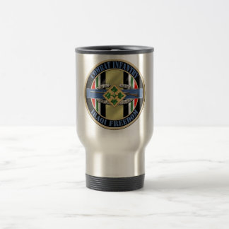 Combat Infantry OIF 4th ID 15 Oz Stainless Steel Travel Mug