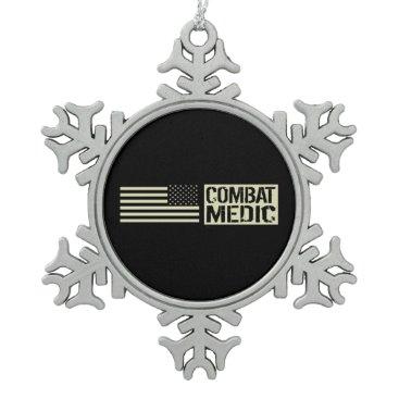 Combat Medic Snowflake Pewter Christmas Ornament
