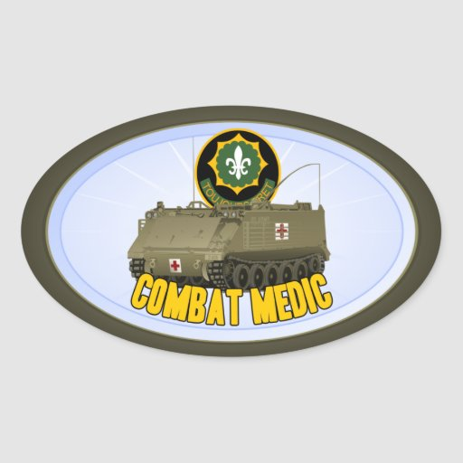 Combat Medic Oval Stickers