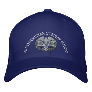 Combat Medical Badge & Afghan Campaign Ribbon Hat Embroidered Hat