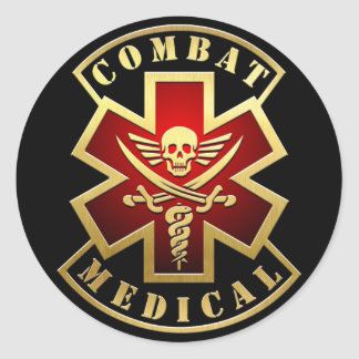 Combat Medical Skull & Swords Cross Patch Classic Round Sticker