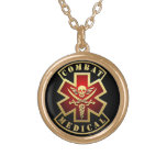 Combat Medical Skull & Swords Cross Patch Round Pendant Necklace