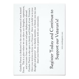 "Combat Poetry Awareness 4.5"" X 6.25"" Invitation Card"