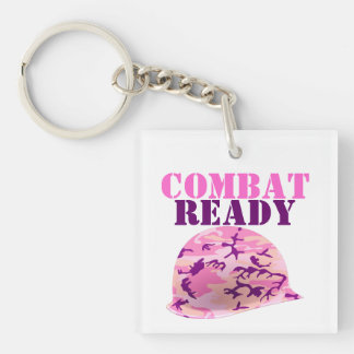 Combat Ready Pink Camouflage Helmet Single-Sided Square Acrylic Keychain