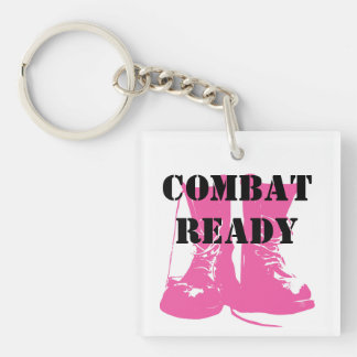 Combat Ready Pink Military Boots Single-Sided Square Acrylic Keychain