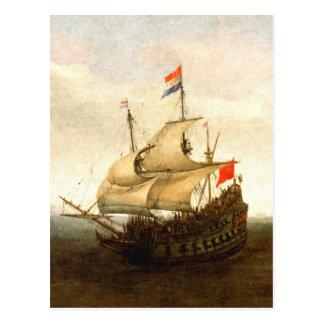 Combat sailboat postcard
