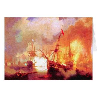 Combat ships at sea card