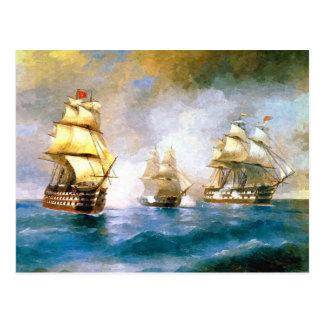 Combat ships at sea postcard