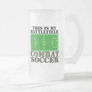 Combat Soccer Frosted Glass Beer Mug