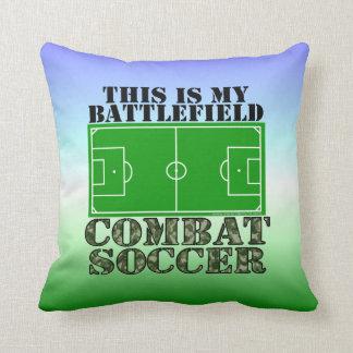 Combat Soccer Throw Pillow