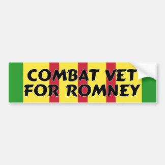 Combat Veteran For Romney Bumper Sticker Car Bumper Sticker