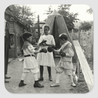 Combate 1915 de boxeo del patio trasero pegatina cuadrada