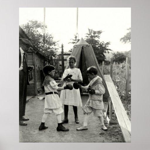 Combate 1915 de boxeo del patio trasero póster