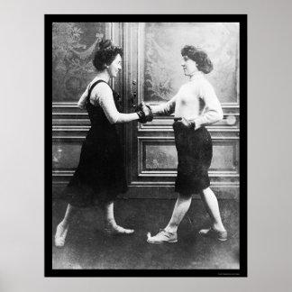 Combate de boxeo de las mujeres 1912 póster