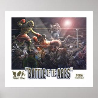 Combate de boxeo del dinosaurio póster